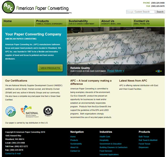 Industrial Website Design for American Paper