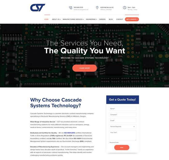 Industrial Website Design for Cascade Systems Technology