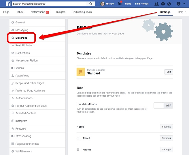 Social media to promote business on Facebook edit page
